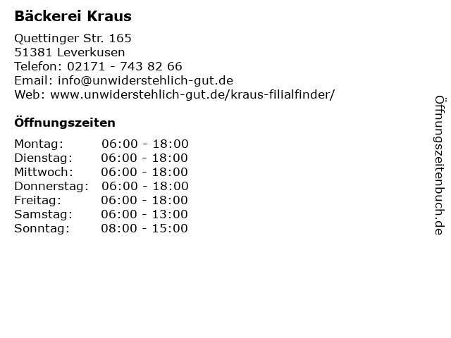 Bäckerei Kraus in Leverkusen: Adresse und Öffnungszeiten