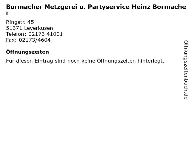 Bormacher Metzgerei u. Partyservice Heinz Bormacher in Leverkusen: Adresse und Öffnungszeiten