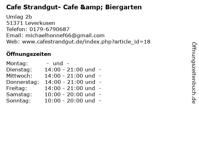 Cafe Strandgut- Cafe & Biergarten in Leverkusen: Adresse und Öffnungszeiten
