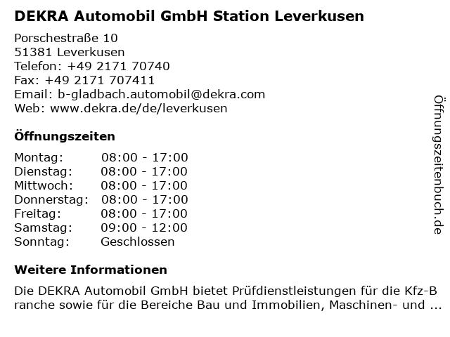 DEKRA Automobil GmbH Station Leverkusen in Leverkusen: Adresse und Öffnungszeiten