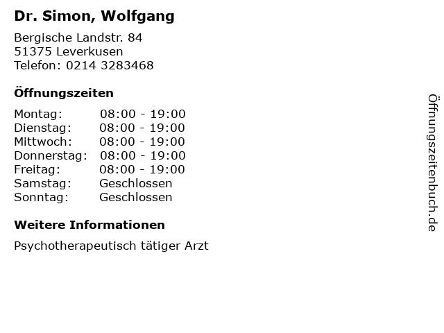 Dr. Simon, Wolfgang in Leverkusen: Adresse und Öffnungszeiten