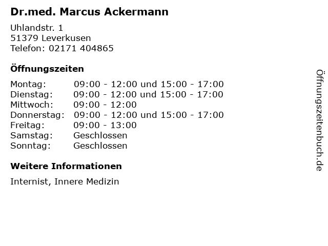 Dr.med. Marcus Ackermann in Leverkusen: Adresse und Öffnungszeiten