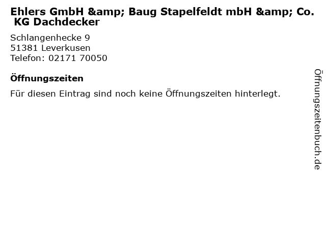Ehlers GmbH & Baug Stapelfeldt mbH & Co. KG Dachdecker in Leverkusen: Adresse und Öffnungszeiten