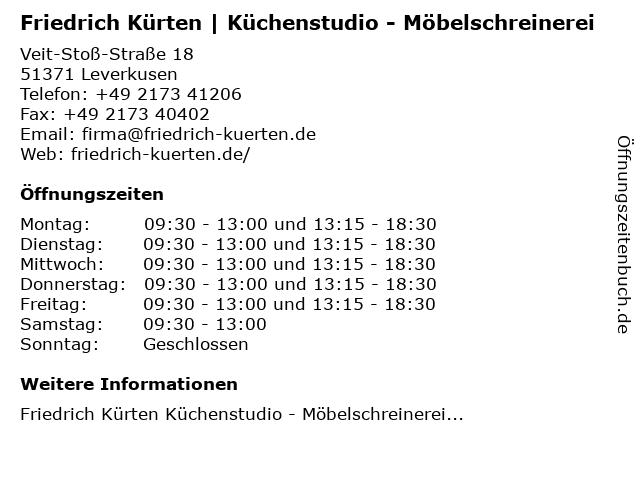 Friedrich Kürten | Küchenstudio - Möbelschreinerei in Leverkusen: Adresse und Öffnungszeiten