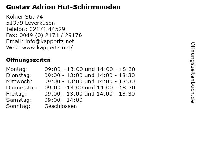 Gustav Adrion Hut-Schirmmoden in Leverkusen: Adresse und Öffnungszeiten