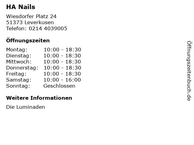 HA Nails in Leverkusen: Adresse und Öffnungszeiten