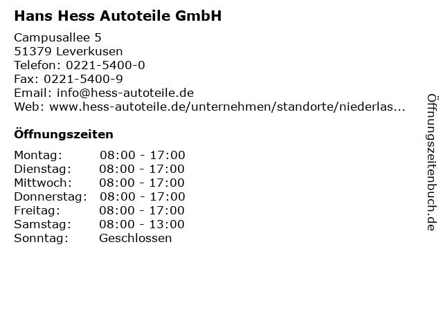 Hans Hess Autoteile GmbH in Leverkusen: Adresse und Öffnungszeiten