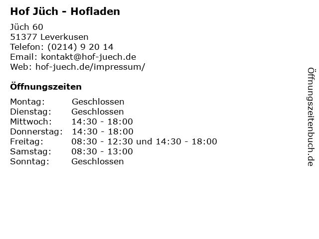 Hof Jüch - Hofladen in Leverkusen: Adresse und Öffnungszeiten