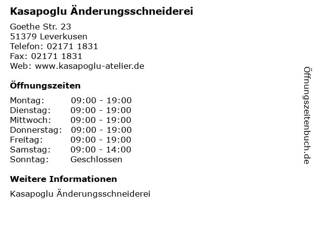 Kasapoglu Änderungsschneiderei in Leverkusen: Adresse und Öffnungszeiten