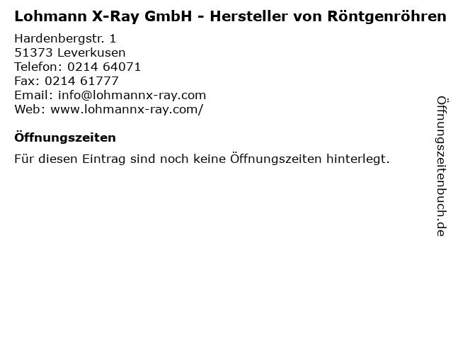 Lohmann X-Ray GmbH - Hersteller von Röntgenröhren in Leverkusen: Adresse und Öffnungszeiten