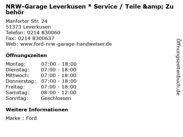 NRW-Garage Leverkusen * Service / Teile & Zubehör in Leverkusen: Adresse und Öffnungszeiten