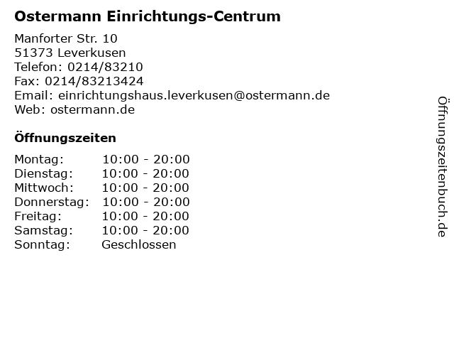 ᐅ öffnungszeiten Ostermann Einrichtungs Centrum Manforter Str