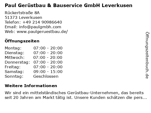Paul Gerüstbau & Bauservice GmbH Leverkusen in Leverkusen: Adresse und Öffnungszeiten
