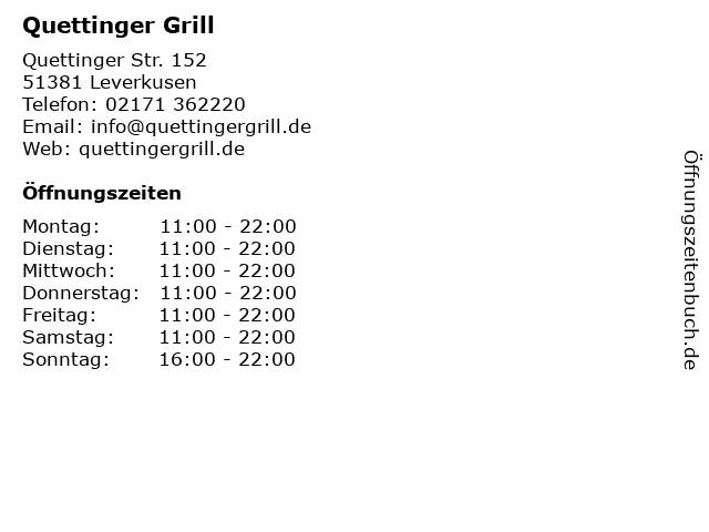 Quettinger Grill in Leverkusen: Adresse und Öffnungszeiten