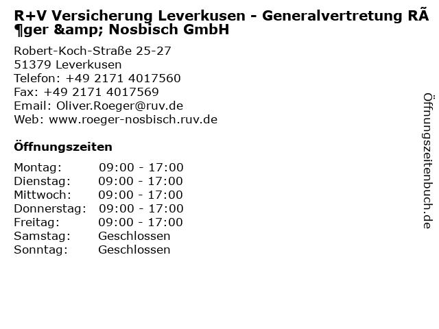 R+V Versicherung Leverkusen - Generalagentur Oliver Röger in Leverkusen: Adresse und Öffnungszeiten