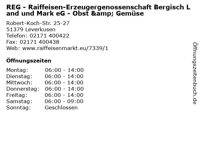 REG - Raiffeisen-Erzeugergenossenschaft Bergisch Land und Mark eG - Obst & Gemüse in Leverkusen: Adresse und Öffnungszeiten