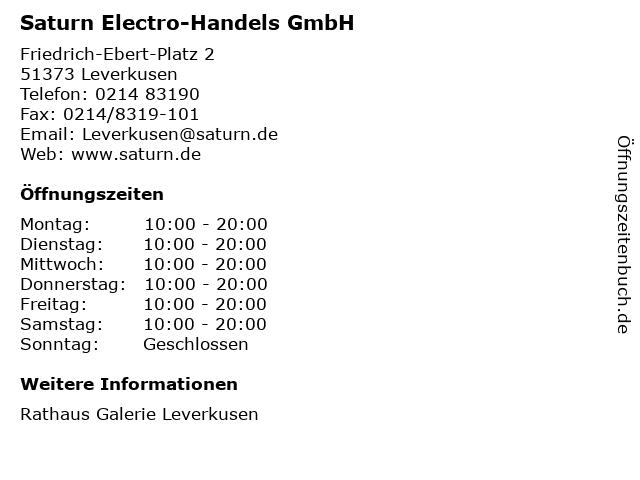 Saturn Electro-Handels GmbH in Leverkusen: Adresse und Öffnungszeiten