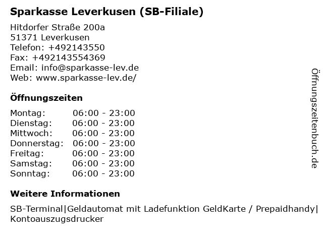 Sparkasse Leverkusen in Leverkusen: Adresse und Öffnungszeiten