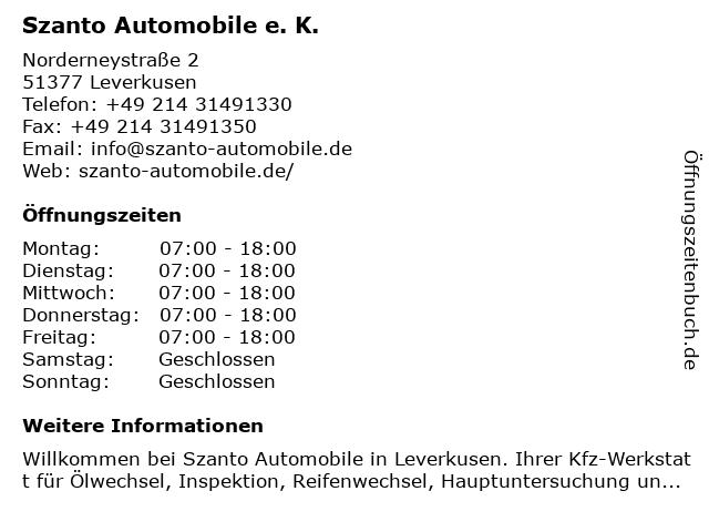 Szanto Automobile in Leverkusen: Adresse und Öffnungszeiten