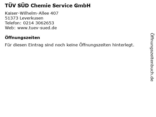 TÜV SÜD Chemie Service GmbH in Leverkusen: Adresse und Öffnungszeiten