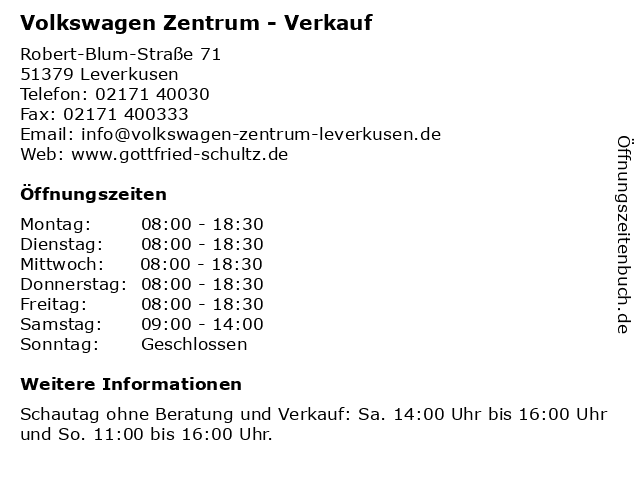 Volkswagen Zentrum - Verkauf in Leverkusen: Adresse und Öffnungszeiten