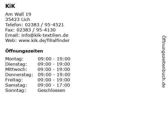 KiK Textilien und Non-Food GmbH in Lich: Adresse und Öffnungszeiten