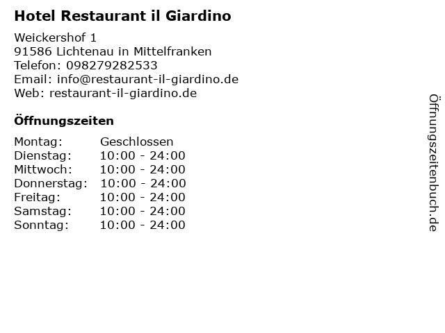 Hotel Restaurant il Giardino in Lichtenau in Mittelfranken: Adresse und Öffnungszeiten