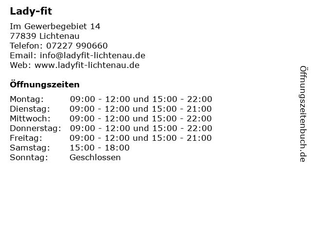 Lady-fit in Lichtenau: Adresse und Öffnungszeiten