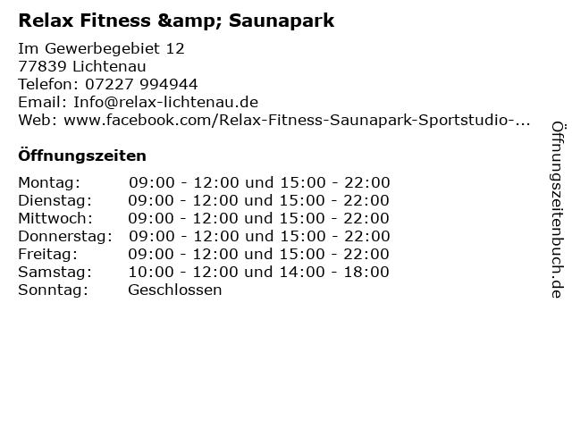 Relax Fitness & Saunapark in Lichtenau: Adresse und Öffnungszeiten
