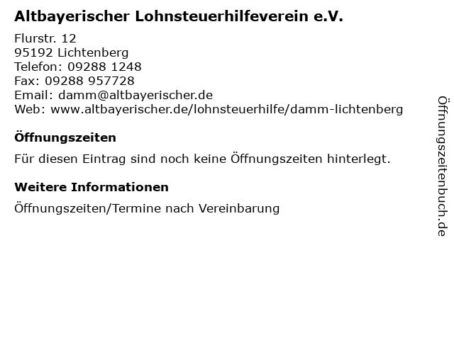 Altbayerischer Lohnsteuerhilfeverein e.V. in Lichtenberg: Adresse und Öffnungszeiten
