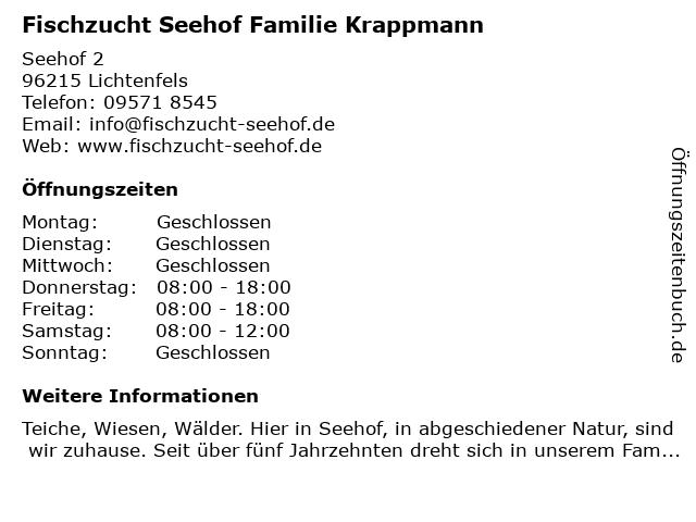 Fischzucht Seehof Familie Krappmann in Lichtenfels: Adresse und Öffnungszeiten