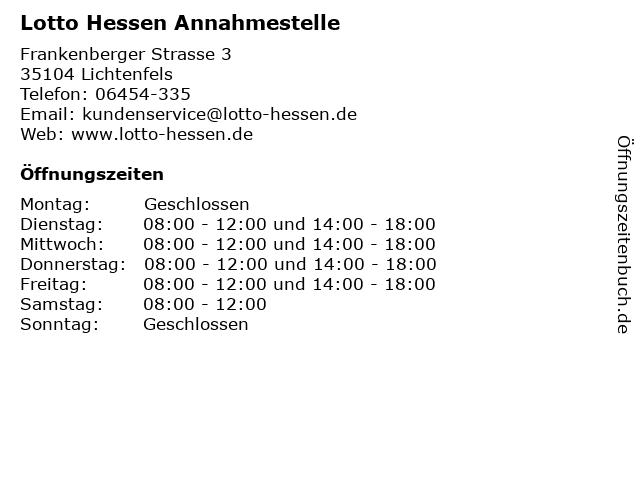 Lotto Hessen Annahmestelle in Lichtenfels: Adresse und Öffnungszeiten
