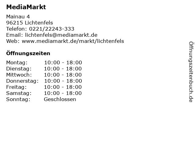 Media Markt Lichtenfels in Lichtenfels: Adresse und Öffnungszeiten