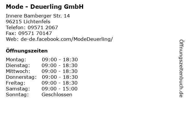 Mode - Deuerling GmbH in Lichtenfels: Adresse und Öffnungszeiten