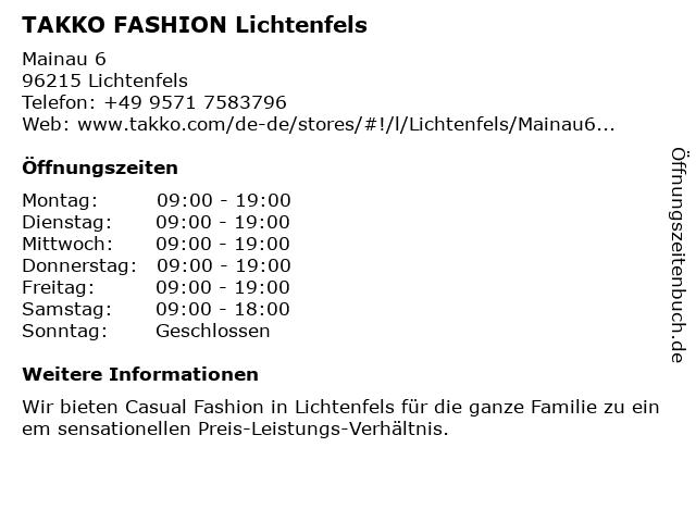 Takko Fashion in Lichtenfels: Adresse und Öffnungszeiten