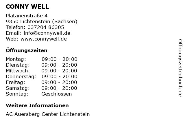 CONNY WELL in Lichtenstein (Sachsen): Adresse und Öffnungszeiten