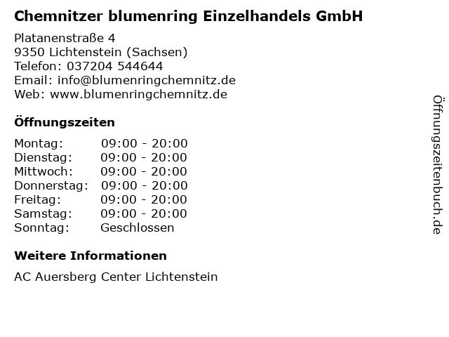 Chemnitzer blumenring Einzelhandels GmbH in Lichtenstein (Sachsen): Adresse und Öffnungszeiten