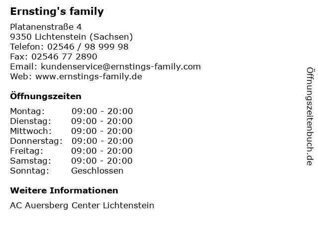 Ernsting's family GmbH & Co. KG in Lichtenstein (Sachsen): Adresse und Öffnungszeiten