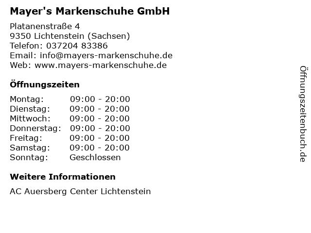 Mayer's Markenschuhe GmbH in Lichtenstein (Sachsen): Adresse und Öffnungszeiten