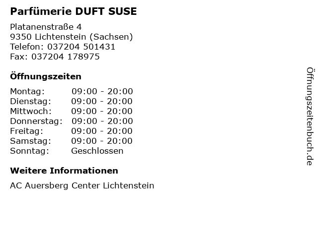 Parfümerie DUFT SUSE in Lichtenstein (Sachsen): Adresse und Öffnungszeiten