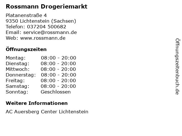Rossmann Drogeriemarkt in Lichtenstein (Sachsen): Adresse und Öffnungszeiten