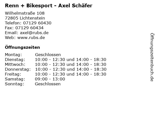 Renn + Bikesport - Axel Schäfer in Lichtenstein: Adresse und Öffnungszeiten