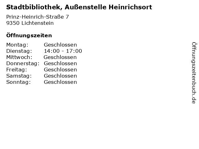 Stadtbibliothek, Außenstelle Heinrichsort in Lichtenstein: Adresse und Öffnungszeiten