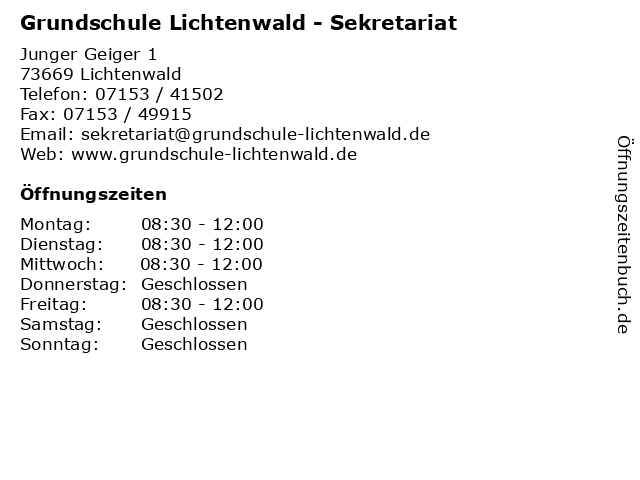 Grundschule Lichtenwald - Sekretariat in Lichtenwald: Adresse und Öffnungszeiten