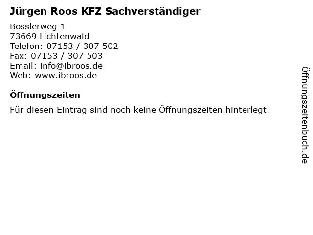Jürgen Roos KFZ Sachverständiger in Lichtenwald: Adresse und Öffnungszeiten