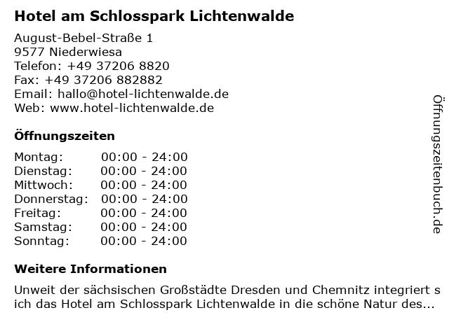 Best Western Hotel am Schlosspark | Restaurant Lichtblick in Lichtenwalde: Adresse und Öffnungszeiten