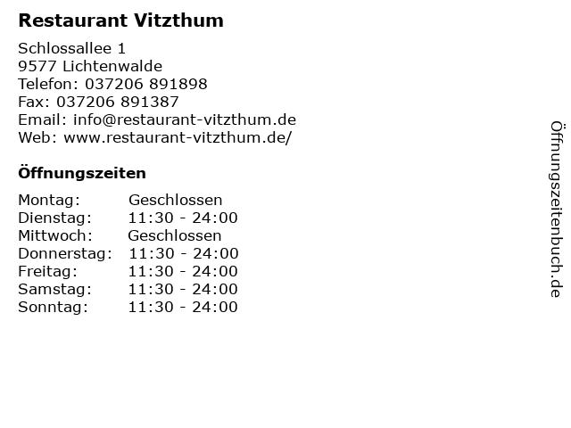 Restaurant Vitzthum in Lichtenwalde: Adresse und Öffnungszeiten