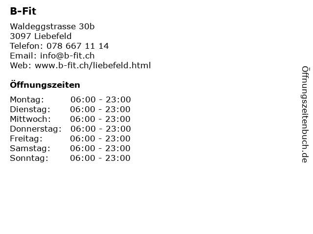 B-Fit in Liebefeld: Adresse und Öffnungszeiten