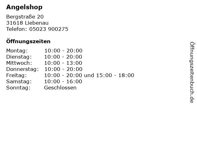 Angelshop in Liebenau: Adresse und Öffnungszeiten
