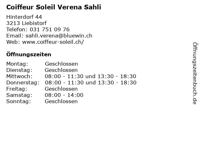 Coiffeur Soleil Verena Sahli in Liebistorf: Adresse und Öffnungszeiten